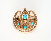 Sweet Victorian 14K Gold, Turquoise, and Seed Pearl Star & Crescent Moon Brooch / Pendant