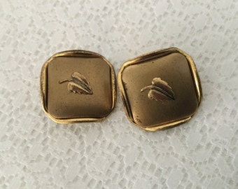 Vintage Square Metal Picture Buttons,Set of Two Leaf Buttons