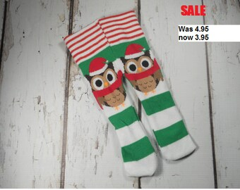 """DISCONTINUED SALE 18"""" Doll Tights Baby Doll Big Doll American Made for Girls  Bumstoppers Red Green Christmas Owl Stripe"""
