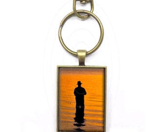 I'd Rather Be Fishing - Fisherman at Sunset - Backpack Clip, Briefcase Clip, Key Ring, Key Clip, Gift Under 20 Dollars, Stocking Stuffer