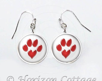 Paw Print Heart Earrings, Pet Lover Gift, Animal Lover Earrings, Your Choice of Finish