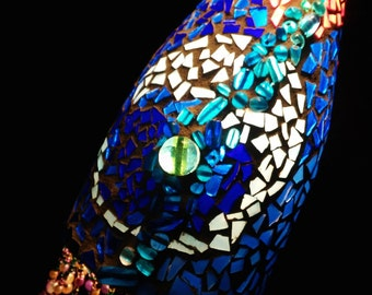 glass mosaic hanging pendant light, abstract waves of blue,