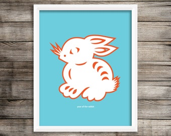 Year of the Rabbit Modern Home Decor Wall Art  8X10 ~ Digital Download.