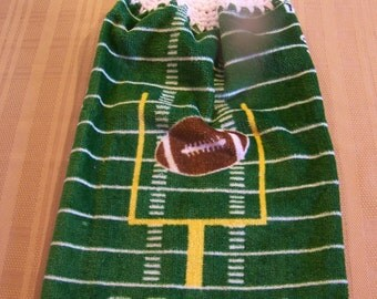 Football Hanging Dish Towel, Hanging Kitchen Towel, Crochet Top Towel, Hanging Dish Towel, Housewarming Gift, Home Decor