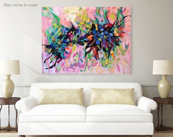 Large abstract art, pink, canvas painting, acrylic painting, abstract painting, wall decor, modern art, floral, original painting