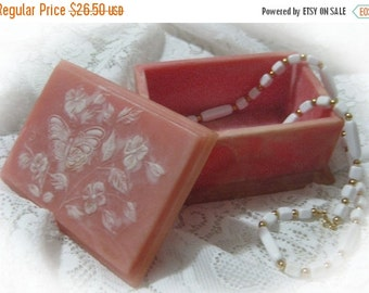 20% CIJ Vintage 1970's  Marble Resin Vanity Jewelry Box Home Decor