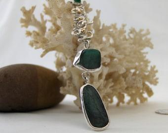 Genuine Emerald Silver Necklace,Raw Rough Cut Emerald Necklace,Brazilian Emerald Sterling Silver Gold Accent Necklace,Raw Rough Emeralds