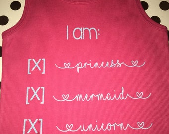 I am princess mermaid unicorn kid toddler baby onesie adult tank top t shirt