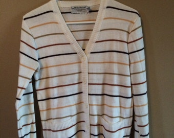 Vintage Mens Striped Cardigan Sweater S
