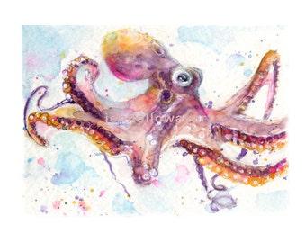 Watercolor Octopus, Octopus Print, Sealife Print, Octopus Art