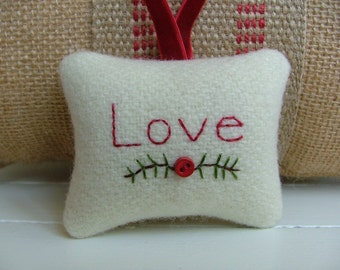 Love - Off-White Wool Embroidered Christmas Ornament