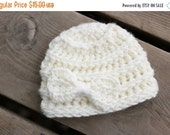 Cyber & Christmas Sale Cream off white Baby Girl Hat, yellow ribbon Bow, Newborn Photo Prop Hat, Yellow bow Beanie, crochet baby hat, croche