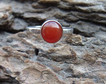 Carnelian Ring, Sterling Silver, Bezel Set, Hammered Texture Ring Band