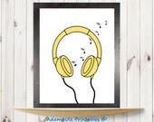 Musical notes printable, Headphones Printable, Yellow prints, Music Printable art, Nursery prints poster, Retro headphones, Music wall decor