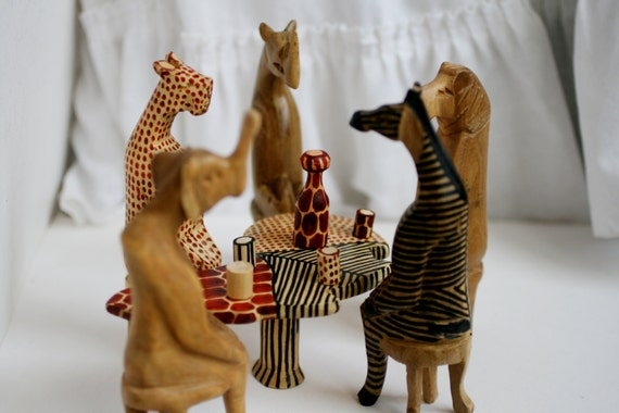 Hand carved wooden party animals from kenya