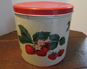 Vintage Round Canister Tin with Strawberries