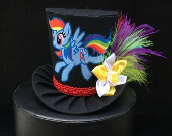 My Little Pony Rainbow Dash Inspired Mini Top Hat for Dress Up, Birthday, Tea Party or Photo Prop