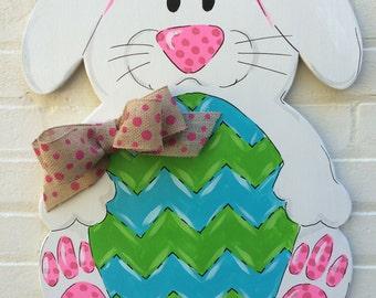 Easter Bunny Egg LSU colors too Wooden Hand painted Door Hanger Burlap Bow