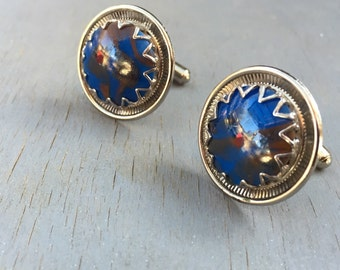Vintage Silver Blue Stone Cuff Links 1970s mens accessories