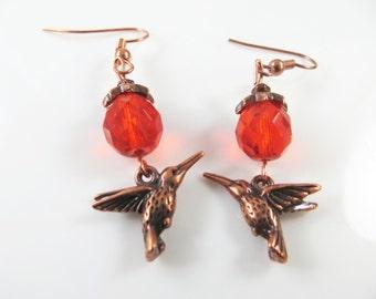 Clearance - Mini copper and orange hummingbird earrings