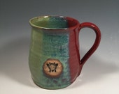 Pottery Mug -  Ceramic Coffee Cup - 16 oz - brick red jade green - bee stamp - ready to ship - ceramics - pottery - stoneware