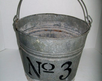 Vintage Bucket Upcycled Pail Stenciled No 3 Galvanized Metal Pail Rusty Primitive