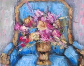 French Blue Oil Painting by Kelly Berkey 10x8