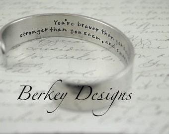 Graduation/Courage Secret Message Hand Stamped Bracelet- Personalized Bracelet