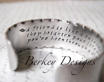 A Friend is Like a Rainbow Secret Message Hand Stamped Bracelet- Personalized Bracelet