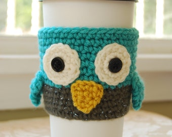 Owl Coffee Cozy, Crochet Coffee Cozy, Crocheted Owl Cozy, Owl Cozies, Crochet Owl Cozy, Animal Cup Cozies, Crocheted Animal Cozies