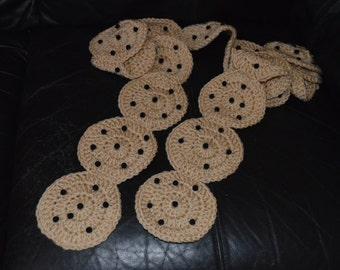 Crocheted Chocolate Chip Cookie Scarf
