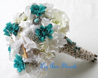 WESTERN Silk Wedding Bouquet, ON SALE, Brooch Bouquet Turquoise, White Wedding Bouquet Brooch Bouquet, Jeweled Bridal Bouquet  Ready to ship