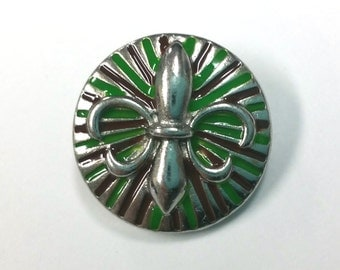 1 PC 18MM Limited Edition Green Brown Fleur De Lis Silver Candy Snap Charm Jewelry CC1192