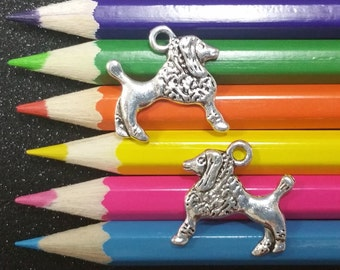 10 PCS - Poodle Dog Animal Silver Charm C1278