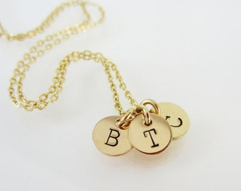 Personalized Initial Gold Necklace, Family Jewelry, Personalized Custom Initial Necklace, Children Initials, Grandma necklace