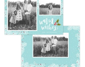 INSTANT DOWNLOAD - Christmas Holiday Card Photoshop template - E1366
