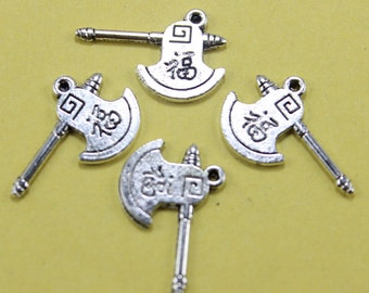 4 Axe Charms Antique Silver 18 x 12 mm Double Sided - sc096
