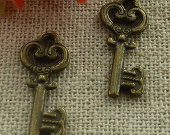 5 Key Charms Antique Bronze  20 x 7 mm U.S Seller  - bz351
