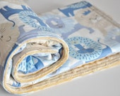 Blue Lion Baby Blanket, Toddler Blanket,  Minky backed blanket,  Little Lion Baby Blue Blanket