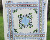 Vintage Home Beautiful Mint w/Tag Art Deco Hand Decorated Tablecloth