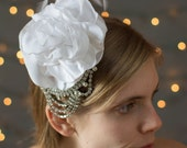 Bridal Fascinator With Handcrafted Blooms Accented With Vintage Rhinestone Adornments And Ostrich Feathers
