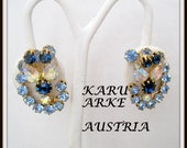 Karu Arke Earrings Blue Rhinestone Signed Austria