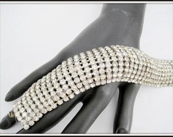 Clear Rhinestone Bracelet - Wide 9 Rows -  Prong Setting - Elegant Bracelet - Push In Clasp