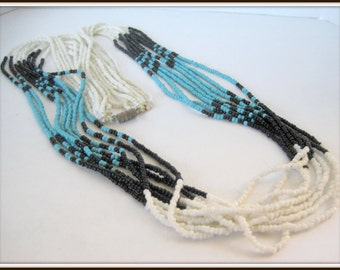 Glass Seed Bead Necklace -  Multistrand Turquoise Black - White Long Torsade Necklace