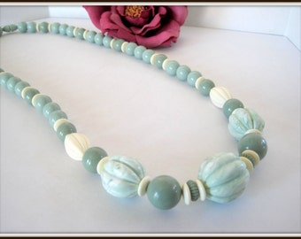 Jade Green Lucite Necklace - White Spacers - Screw In Clasp