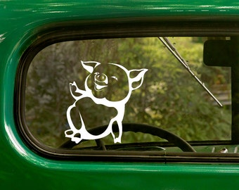 Happy Pig Decal, Car Decal, Hog Decals, Vinyl Sticker, Pig Sticker, Laptop Sticker, Vinyl Decal