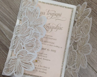 Laser cut white invitation with blush pink and gold glitter accents - fully customizable!