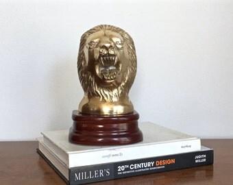 Vintage Brass Lion Bookend Lions Head Book End Wood Base Preppy Regency Decor