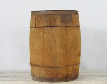 "Antique Nail Keg Vintage 18"" Wood Barrel Metal Bands Primitive Rustic Decor"