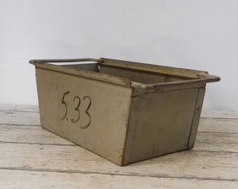 Vintage Metal Bin Vintage Metal Box Industrial Metal Decor Metal Basket Storage 1